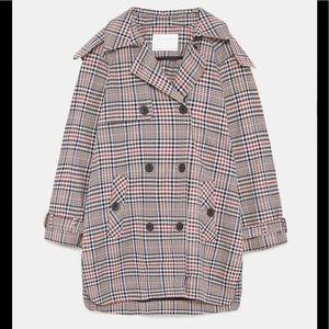 Zara Short Plaid Trench Coat